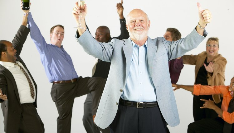 Businessman celebrating at retirement party