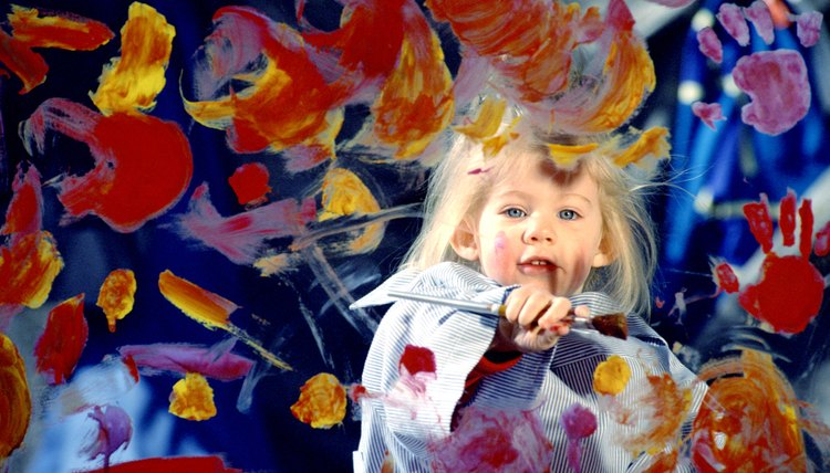 Painting with toddlers is more about the creative process than the finished work.