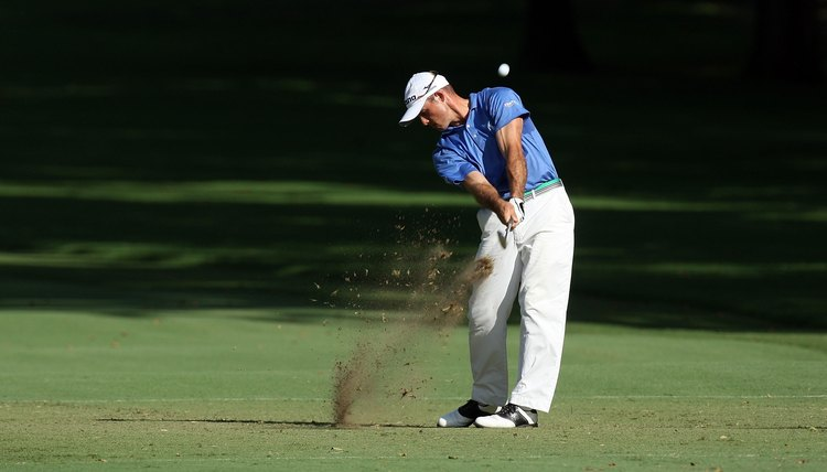 If you look at PGA Tour player Jonathan Byrd's clubhead, you'll see that the bottom of the iron is parallel to his spine – proof that his forearms haven't rotated after impact.