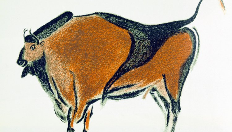 Ritual cave art -- a Paleolithic bison painted on a wall in Altamira, Spain.