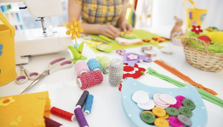 Girl working on craft project