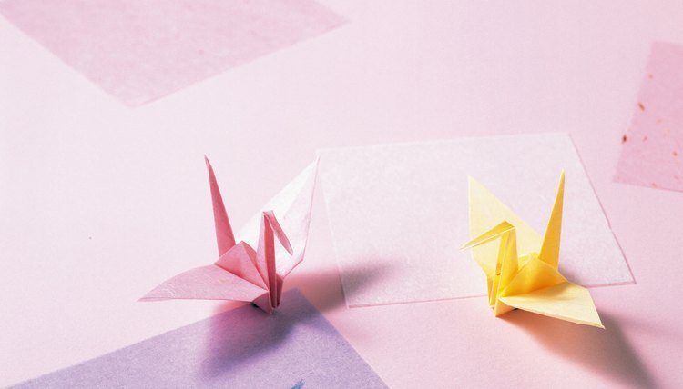 Two origami cranes.