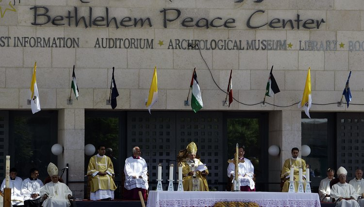 The Bethlehem Peace Center sits between the revered sites of the Mosque of Omar and the Church of the Nativity in Jerusalem's Manger Square.