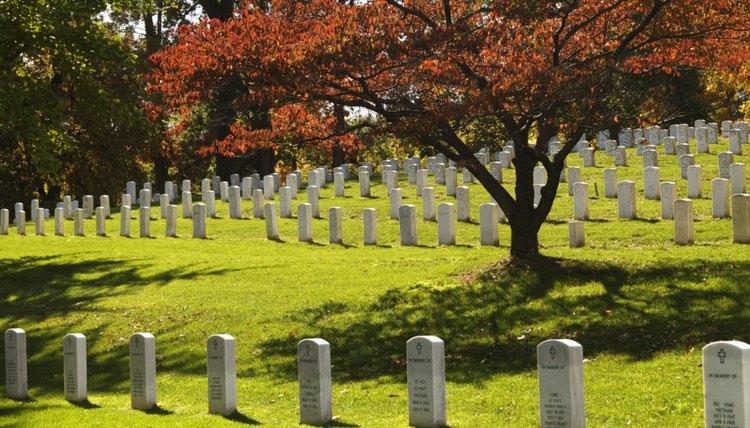 graveyard with tombstones facing east