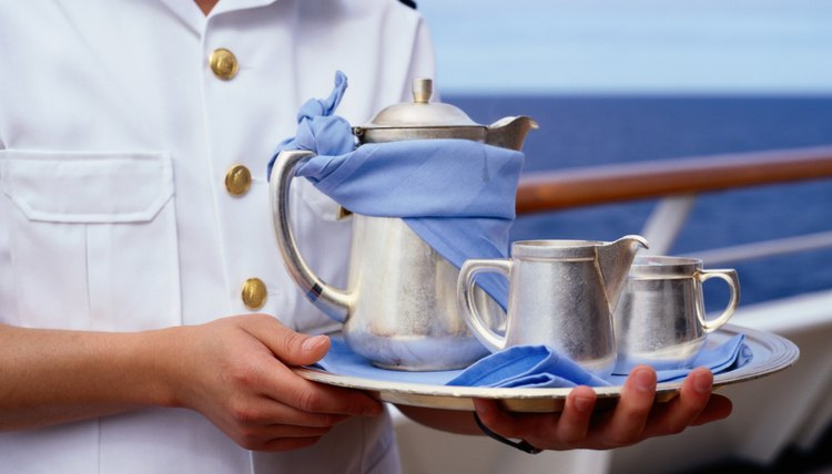 Cruise Ship Waiter with Silver Service Tray