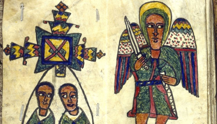 An early Ethiopian manuscript depicts an angel with two men.