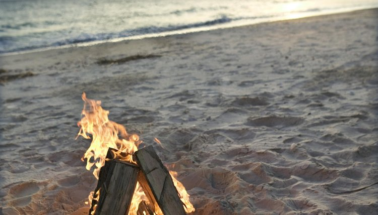 Small bonfire on beach.