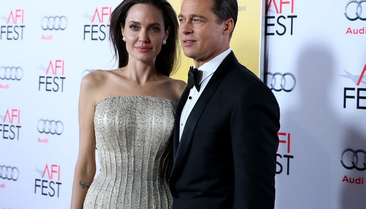 """HOLLYWOOD, CA - NOVEMBER 05: Writer-director-producer-actress Angelina Jolie Pitt and actor-producer Brad Pitt attend the opening-night gala premiere of """"By the Sea"""" during AFI FEST 2015 presented by Audi at TCL Chinese 6 Theatres on November 5, 2015, in Hollywood.  (Photo by Jonathan Leibson/Getty Images for Audi)"""