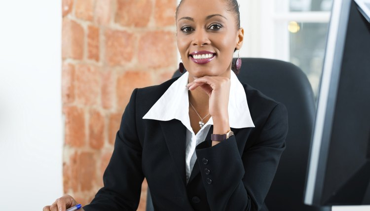 Lawyer in office sitting on the computer