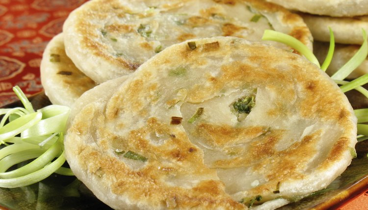 Close up of scallion pancake.