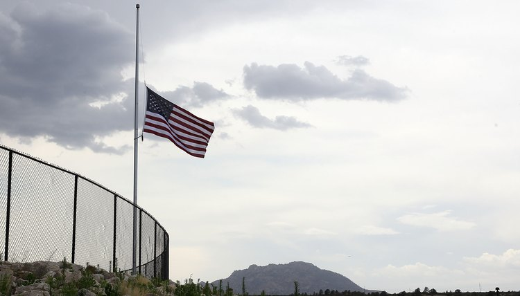 A flag at half-staff honors fallen political leaders, military heroes and victims of national tragedies.