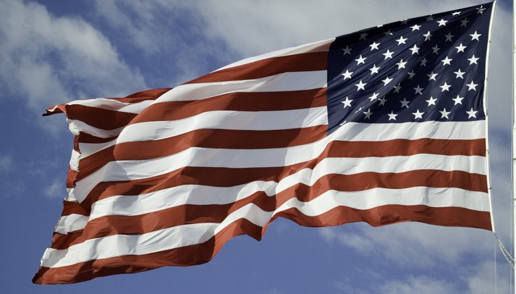 An American Flag flying in the breeze.