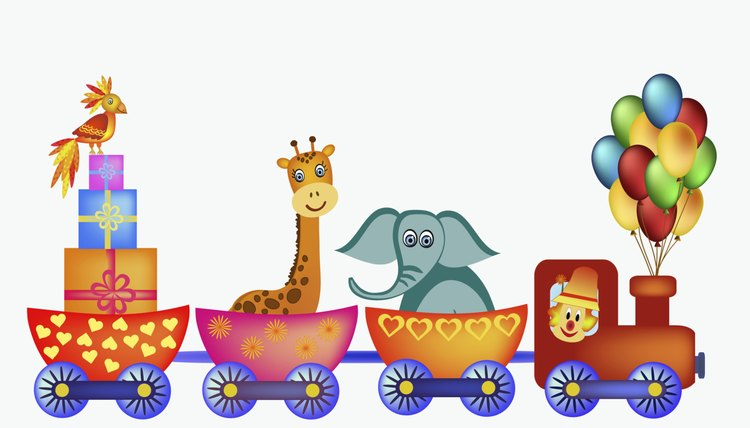 Inspiration for a circus-train float may be as close as your nursery's decor.