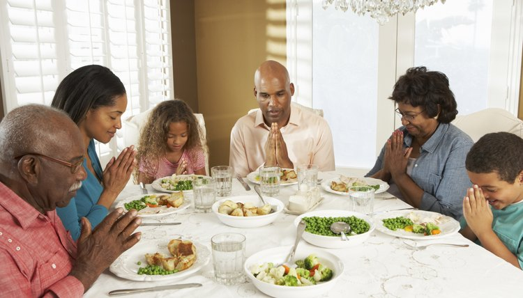 Meals are often eaten with family members.
