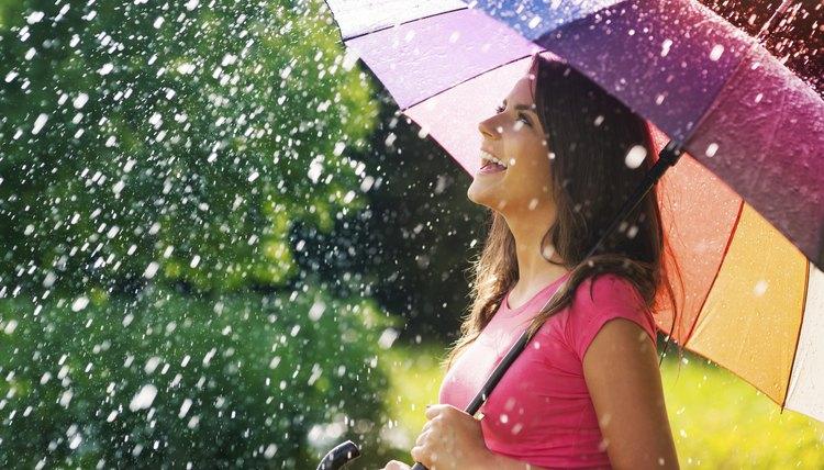 Woman walking in April showers