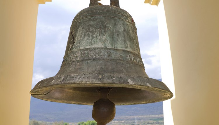A close-up of church bell in Mexico.