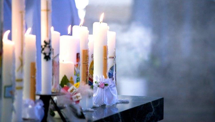 Candles set up at Catholic communion ceremony.