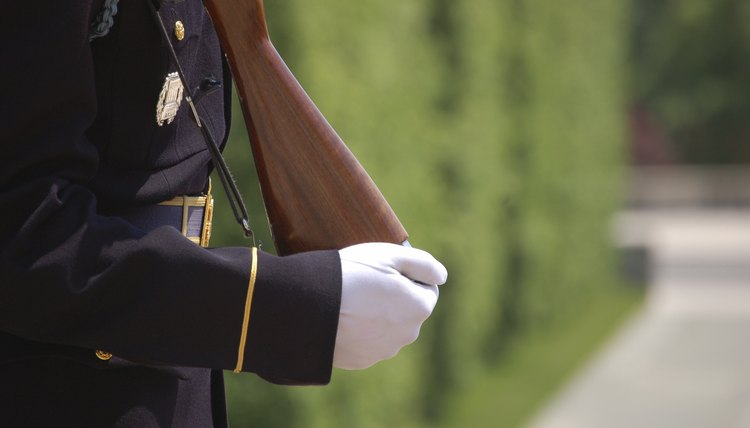 Close-up of Army Honor Guard at Arlington Cemetery