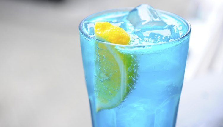 An alcholic drink with blue curacao.