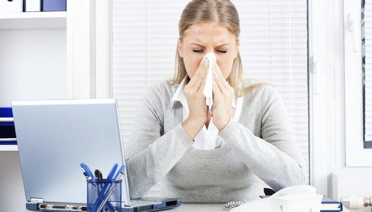 Businesswoman having flu
