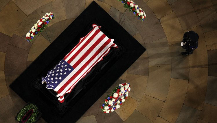 Flags can replace casket veils during military funerals.