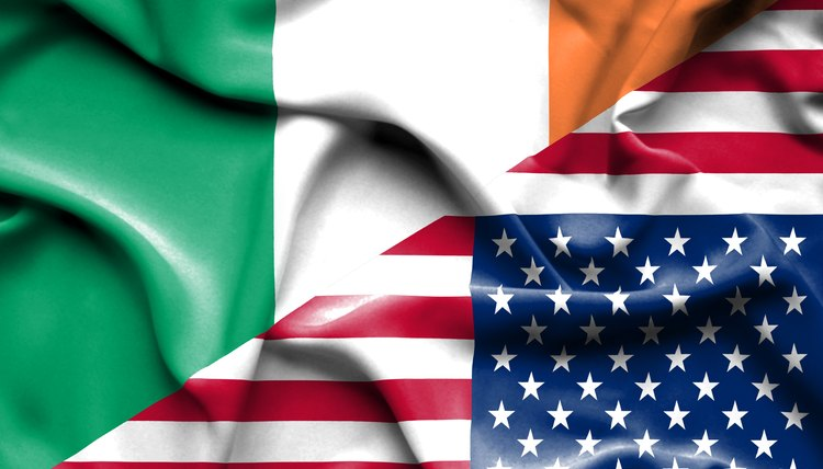 Waving flag of United States of America and Ireland