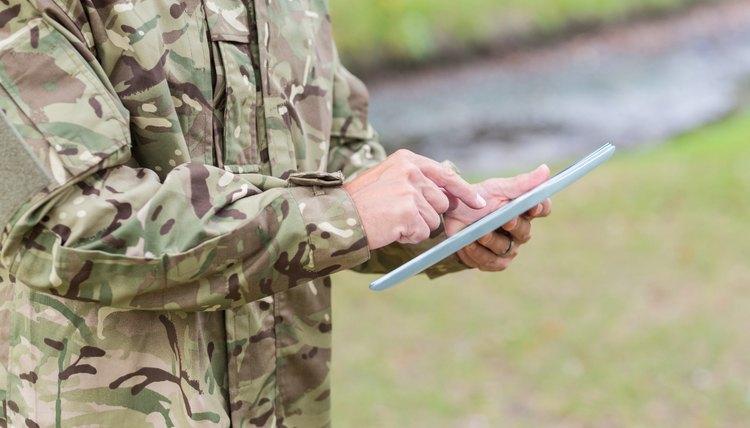Veteran soldier using a tablet