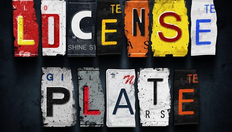 License plate word on vintage car plates
