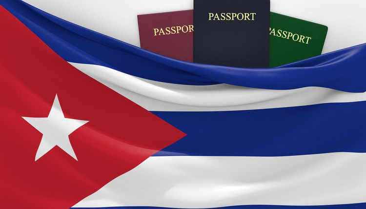 Travel and tourism in Cuba, with assorted passports