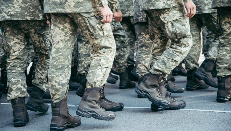 Military boots army walk the parade ground