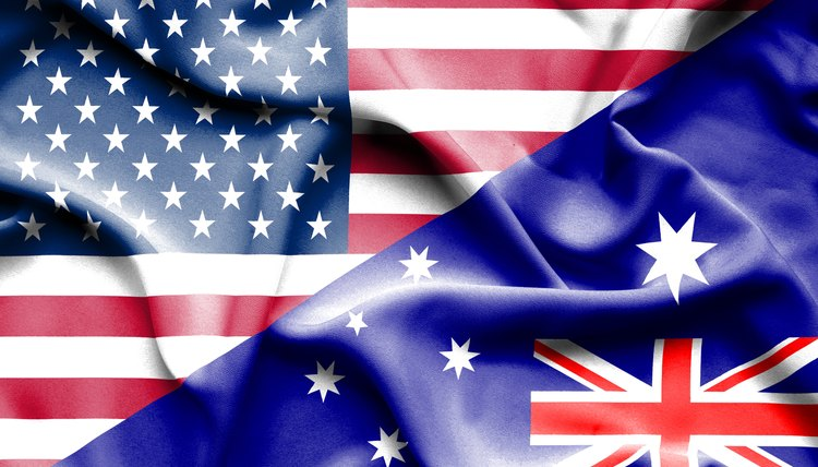 Waving flag of Australia and USA