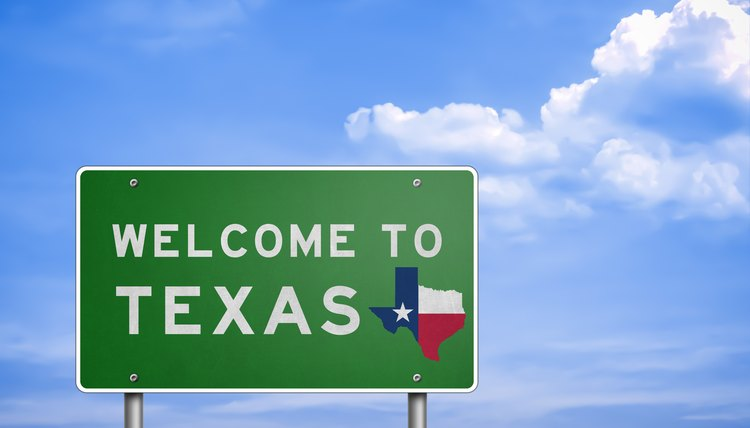 Welcome to US State of Texas - road sign