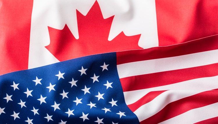 USA flag and Canada flag