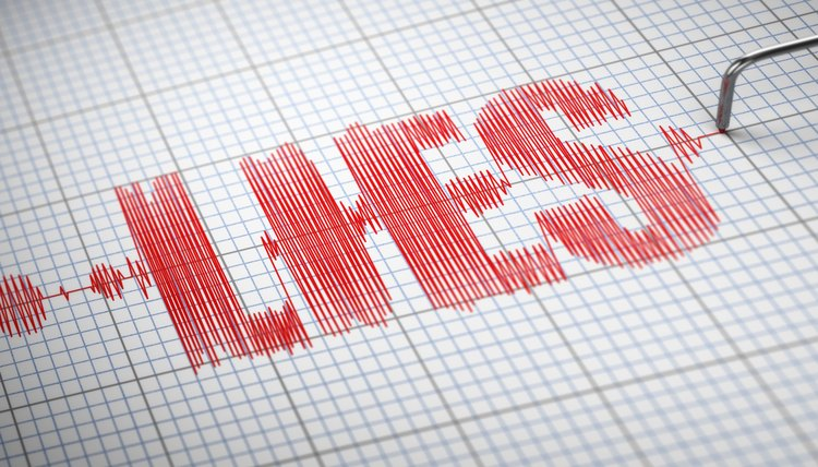 Concept of lies. Lie detector with text.