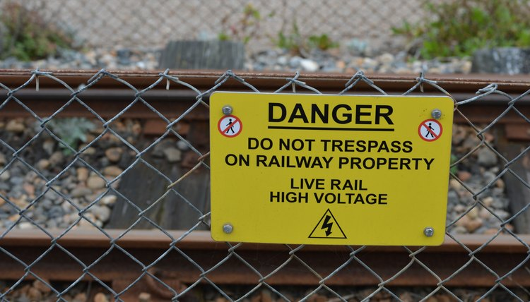 No trespassing sign on railway