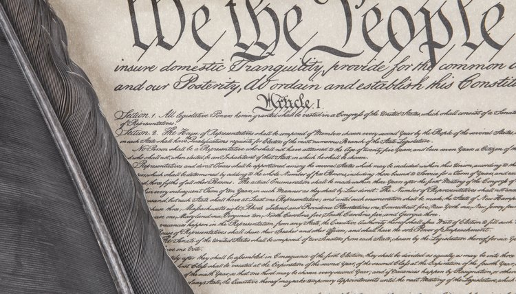 Constitution with feather pen
