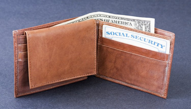 Social Security card in a wallet