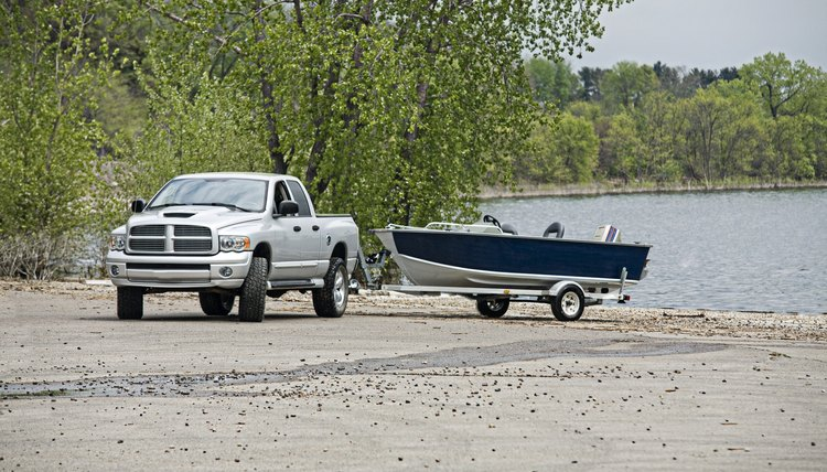 Pickup Truck towing a boat