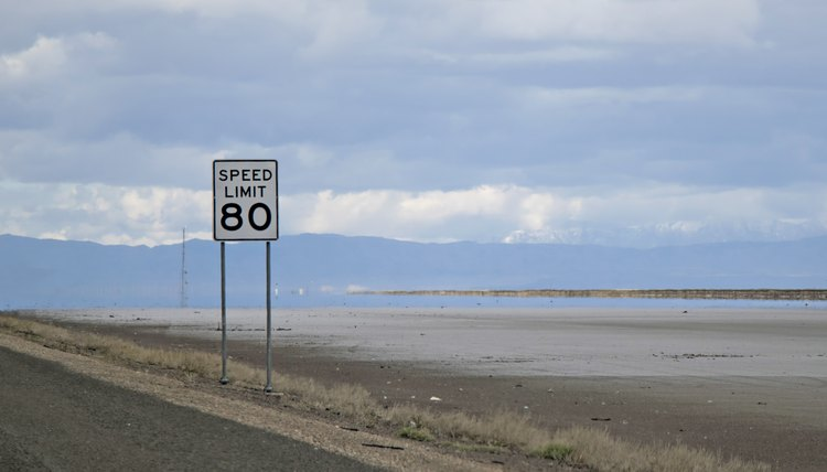 Eighty 80 miles an hour speed limit sign, Utah or Nevada on Interstate 80.