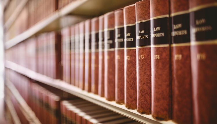 Law books in a legal library