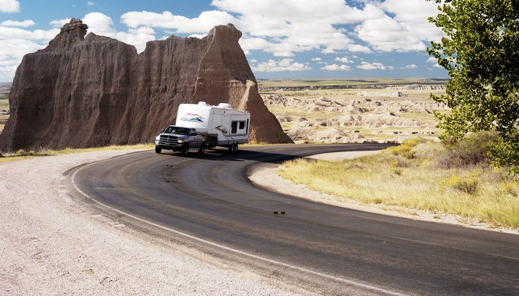 Fifth Wheel trailer on the road