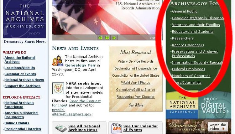 the National Archives, link, Resources, Select