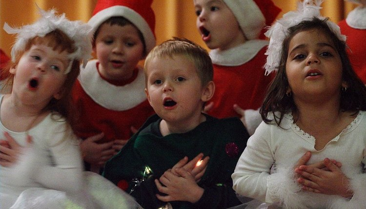 Children sign a song at a Christmas pageant