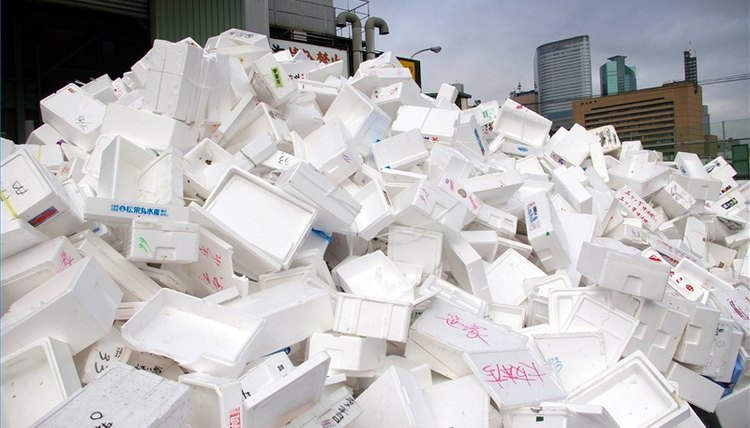 This mountain of Styrofoam containers was photographed outside a Tokyo fish market.