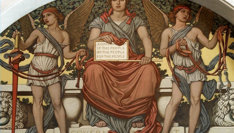 A Library of Congress mural portrays government's job of protecting and defending its citizens.