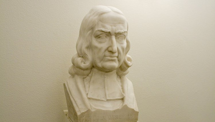 A bust of John Wesley, who led the founding of Methodism.
