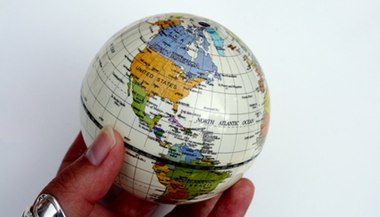 The latitude and longitude lines form a grid on the globe.