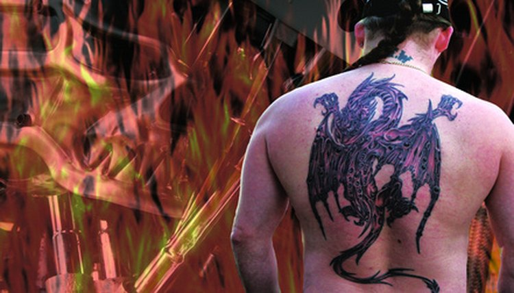 Tattoos, like this one, would require several treatments to remove.