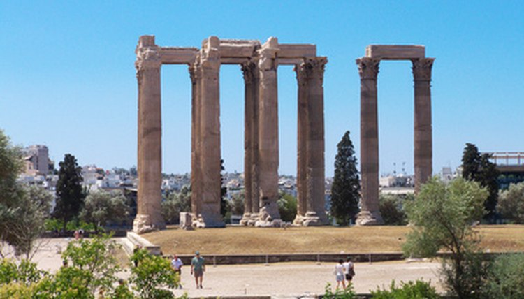 Ruins from the Temple of Zeus built during the Classical period in Ancient Greece.