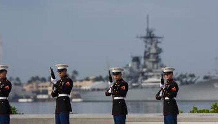 U.S. Marine Corp gun salute in front of the USS Missouri